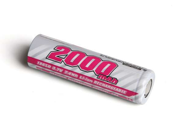 Turnigy 18650 2000mAh 3.7V Rechargeable Li-ion Battery - RC Kavala Acro Team